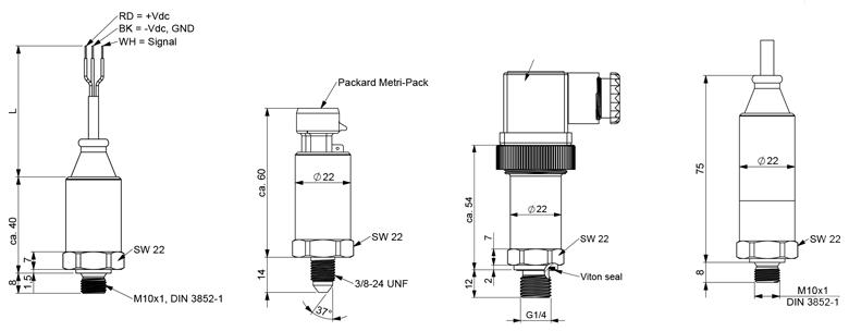 Variohm druksensor SMO3100 werktekening