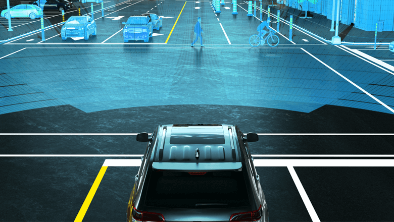 Lidar sensor in zelfrijdende auto met groot zichtveld