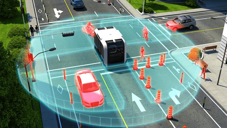 Lidar sensor in zelfrijdende voertuigen herkent objecten